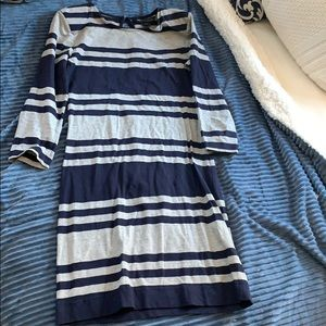 French Connection body on grey and navy dress